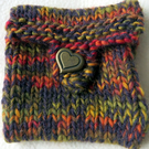 Hand Knitted Pouch, Mini Bag, love heart button, treasures