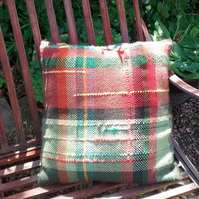 Hand Woven Cushion, saori styled,homeware,rustic accessory,country garden,green,