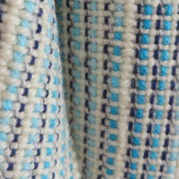 Blue Scarf, Hand Woven,weaving blues soft easy to wear, cream, accessory, cowl