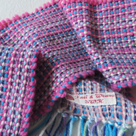 Hand Woven Scarf in Blue, Pink, Grey, with a little green, soft, fresh, wearable
