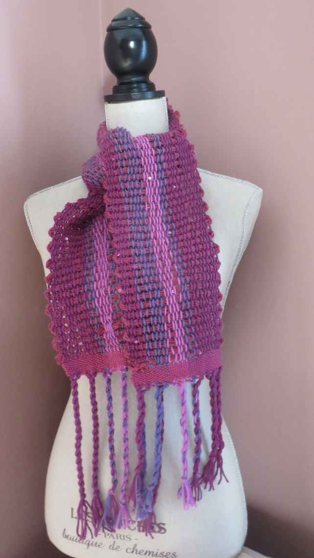 Scarf, Hand woven, Pink, Plums,Lilac,chunky, sparkle, sequins,fashion,neck,cowl