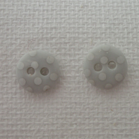 Button stud earrings (sterling silver)- choice of grey shades