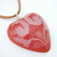 Red and white lace resin and sterling silver heart pendant