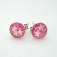 Pink stars and pink iridescent glitter sterling silver studs