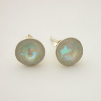 Pale turquoise stars and iridescent glitter sterling silver studs