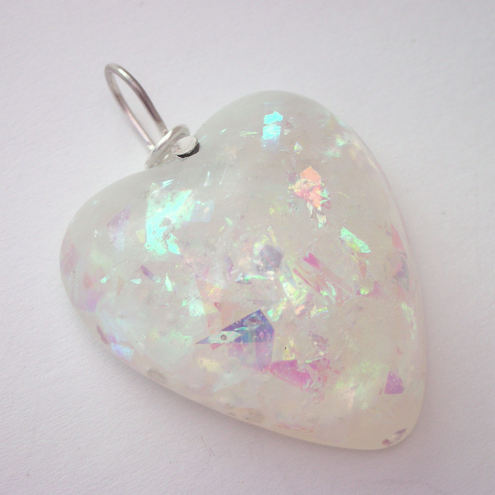 Iridescent resin heart pendant