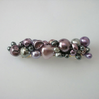 Purple, pink and silver pearl hairclip