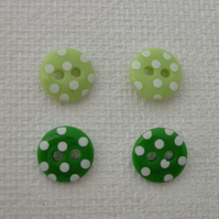 Button stud earrings (sterling silver)- choice of green shades