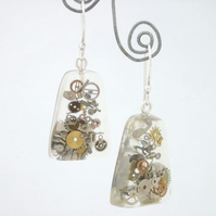 Steampunk watch parts, resin and sterling silver earrings