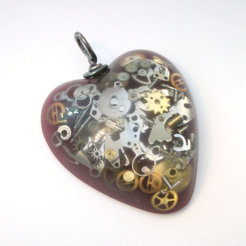 Steampunk cogs and burgundy resin heart pendant