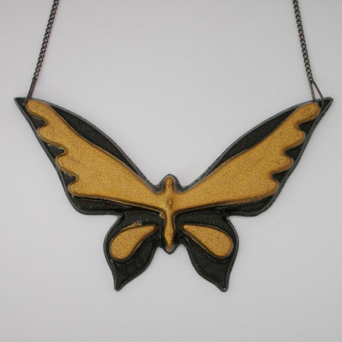 Black and gold large butterfly necklace