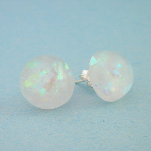 Opal effect iridescent resin and sterling silver stud earrings