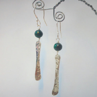 Malachite and textured sterling silver dangly earrings