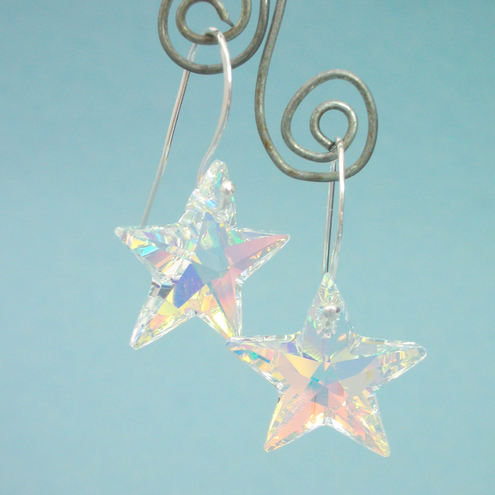 Swarovski crystal star and sterling silver earrings