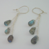 Labradorite drops and sterling silver chain earrings