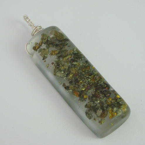 Chalcopyrite chips in resin and sterling silver pendant