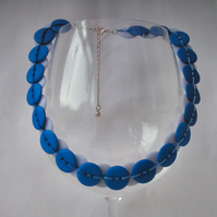 Reversible blue button necklace