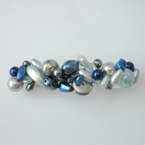 Blue and silver pearl hairclip