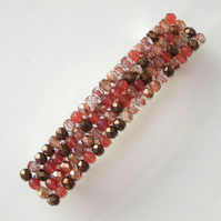 Crystal glass beaded hair clip- copper and pink mix