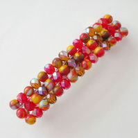 Crystal and glass beaded hair clip- red mix