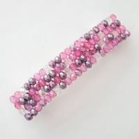 Crystal glass beaded hair clip- pink mix