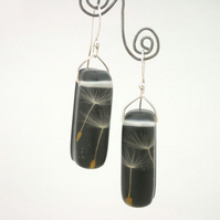 Dandelion seeds in black resin and sterling silver earrings- seconds