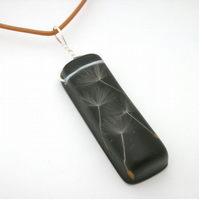 Dandelion seeds in black resin and sterling silver pendant- seconds