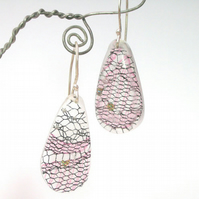 Pink  and black lace scraps in resin and sterling silver earrings