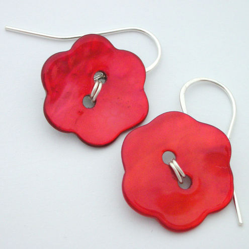 Red shell flower button and sterling silver earrings