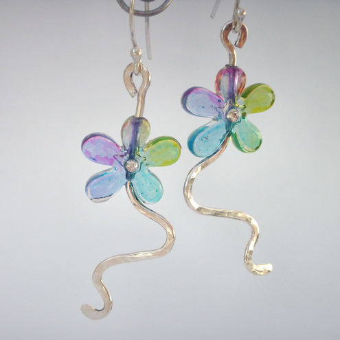 Colourful flower and sterling silver earrings