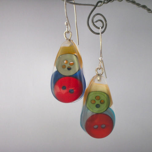 Colourful odd buttons, resin and sterling silver earrings