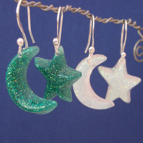 Moon & star glittery resin and sterling silver earrings
