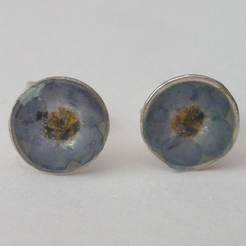 Forget me not, resin and sterling silver studs