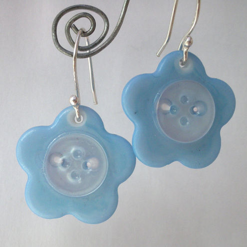 Blue flower button and sterling silver earrings