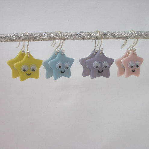 Cute star earrings with sterling silver earwires- choice of colours
