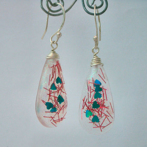 Glittery resin and sterling silver earrings