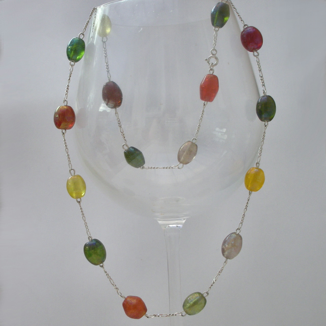 Lampwork bead and sterling silver necklace