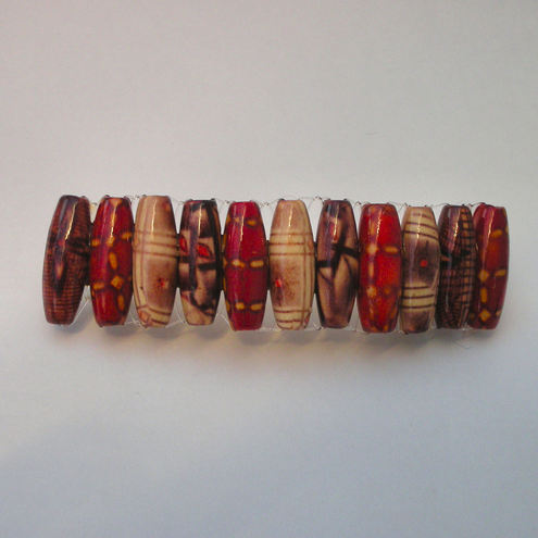 Wooden red and brown beads hair clip