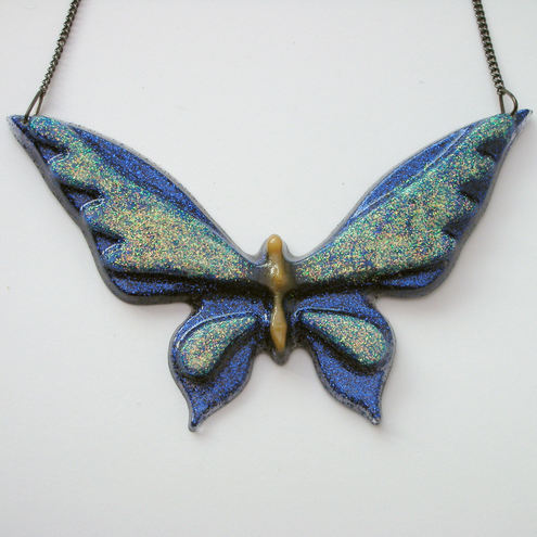 Glittery butterfly necklace