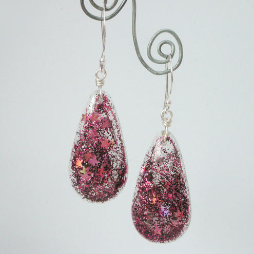 Pink glittery resin and sterling silver earrings