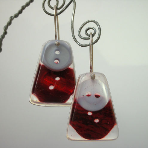 Red and pale grey buttons, resin and sterling silver earrings