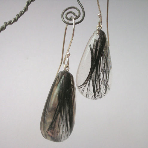 Black feathers in resin and sterling silver earrings