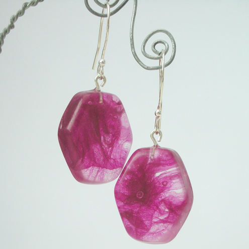 Fuschia pink fabric scraps in resin and sterling silver earrings