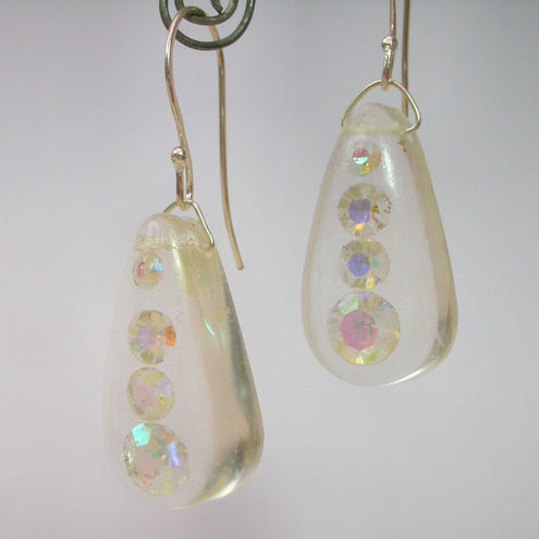 Recycled glass AB gems in resin and sterling silver earrings