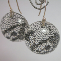 Black lace scraps in resin and sterling silver earrings