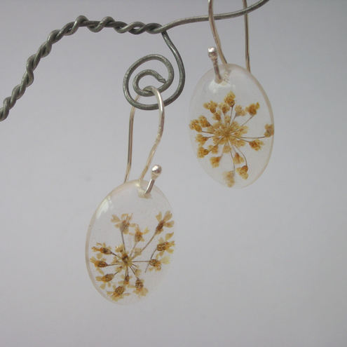 Real wildflowers in resin and sterling silver earrings