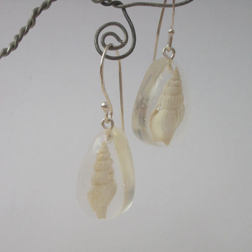 Fossilised shells in resin and sterling silver earrings