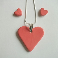 Sale - Coral heart pendant  necklace and earring set - ceramic - sterling silver