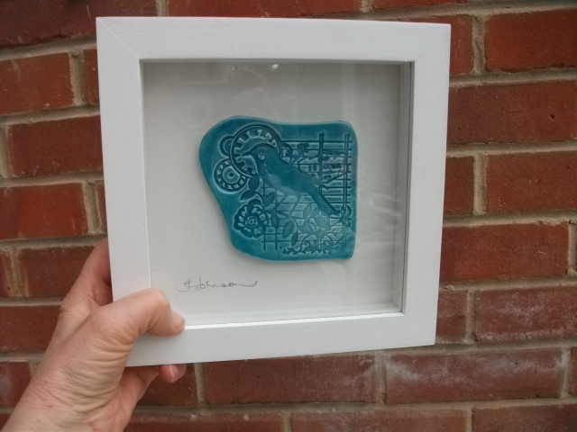 SALE - Turquoise ceramic bird plaque picture