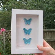 Turquoise ceramic butterfly plaque rustic white frame